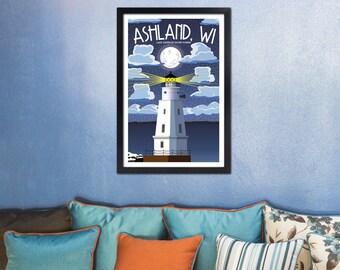 Lake Superior Shore Towns Series: Art Deco Ashland, WI Travel Prints