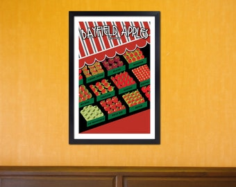 Lake Superior Shore Towns Series: Art Deco Bayfield, Wisconsin Print