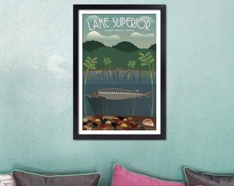 Art Deco Lake Superior Sturgeon Travel Print