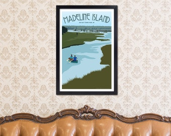 Lake Superior Shore Towns Series: Art Deco Madeline Island - Big Bay Travel Print