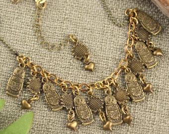 Matryoshka Doll Sunflower Heart Charm Necklace