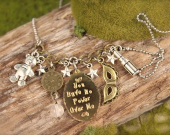 Labyrinth Inspired Clock Crystal Charm Necklace SALE