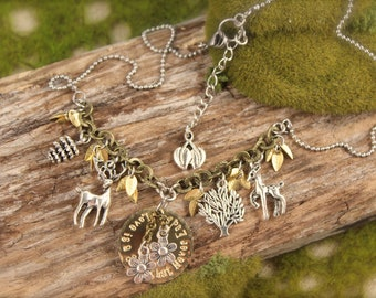 Bambi Inspired Deer Nature Forest Charm Necklace