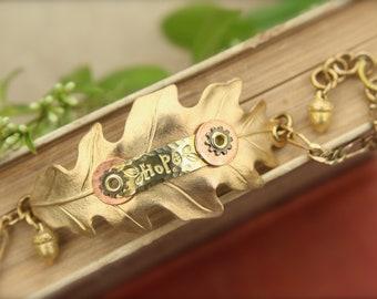 Leaf Oak Acorn Hope Gears Steampunk Bracelet