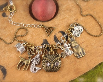 Harry Potter Inspired Owl Deer Cat Charm Necklace