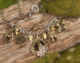 Bambi Inspired Deer Stag Forest Charm Necklace