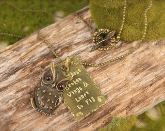 Owl Learn to Fly Garnet Necklace