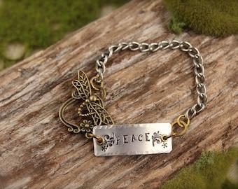 SALE Dragonfly Peace Charm Bracelet