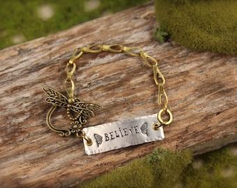SALE Believe Dragonfly Charm Bracelet
