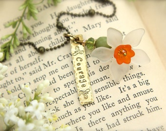 Spring Flower Daffodil Courage Charm Necklace