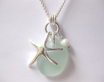 Beach glass jewelry etsy ss starfish sea foam seaglass pendant sterling beach glass necklace beach glass jewelry mozeypictures Image collections