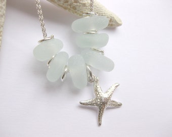 Starfish jewelry  Sea glass necklace  Starfish pendant sea glass custom