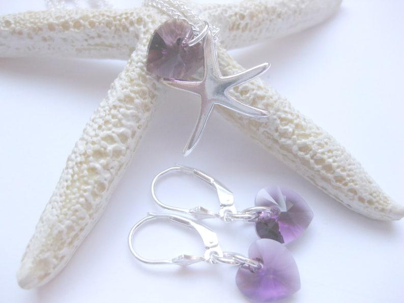 Handmade Custom Jewelry Birthstone necklace Set of 3 Birthstone jewelry Wedding Earrings necklace Starfish  Jewelry