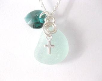 SS Sea Glass Pendant - Religious  Pendant Seaglass Necklace Birthstone Sea Glass Jewelry Handmade Custom Jewelry