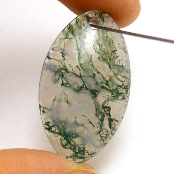 Moss Agate Bead Pendant with Titanium bail Front Drilled Focal Rare Red and Green Dendrites Quartz Transparent Focal Unique One of a Kind