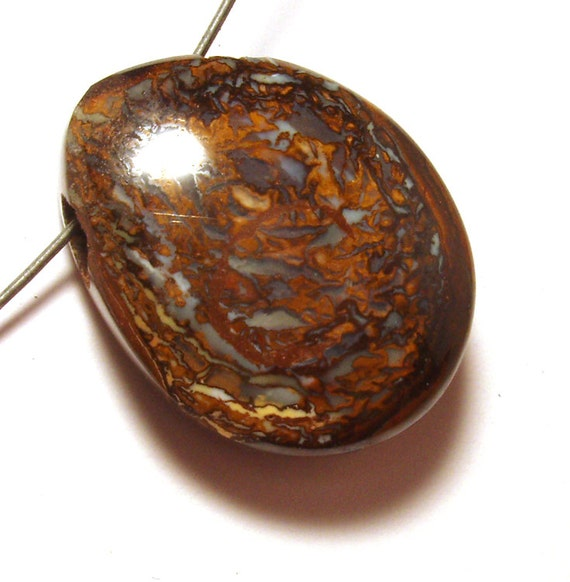 Boulder Opal Bead Cabochon Koroit Yowah Nut Australian Boulder Opal Side Drilled Cabochon Interesting Veining Nut Portion handmade unique