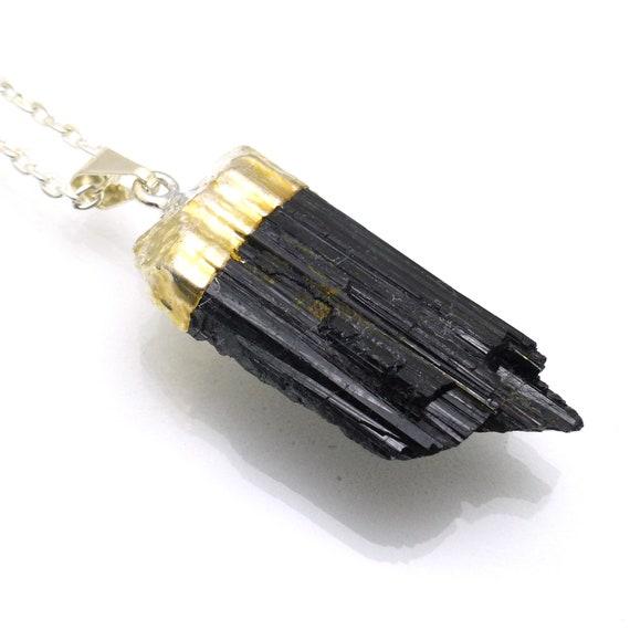 Simple Design Statement Genderless Unique Jewelry Black Rutilated Quartz Necklace Tourmalinated Quartz Pendant Long Chain Mens Jewelry