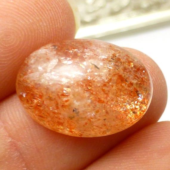 Sunstone Cabochon Orange Sparkle Aventurine Intense One of a Kind Rare Gemstone Rainbow Feldspar Natural Labradorite Glow Schiller Sparkle