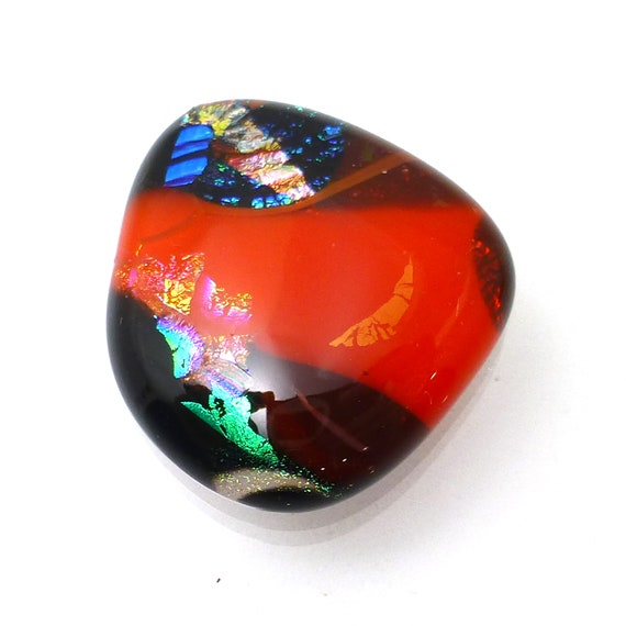 Dichroic Glass Cabochon Handmade One of a Kind Handmade Lisajoy Sachs Design To Use in Designer Jewelry Necklace Pendant Ring