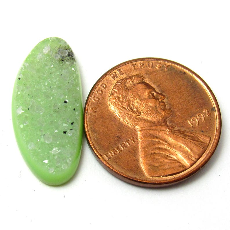 Yellow Green Quartz Druzy Cabochon Granny Smith Apple One of a Kind Dyed Acid Handmade Perfect for a ring or pendant