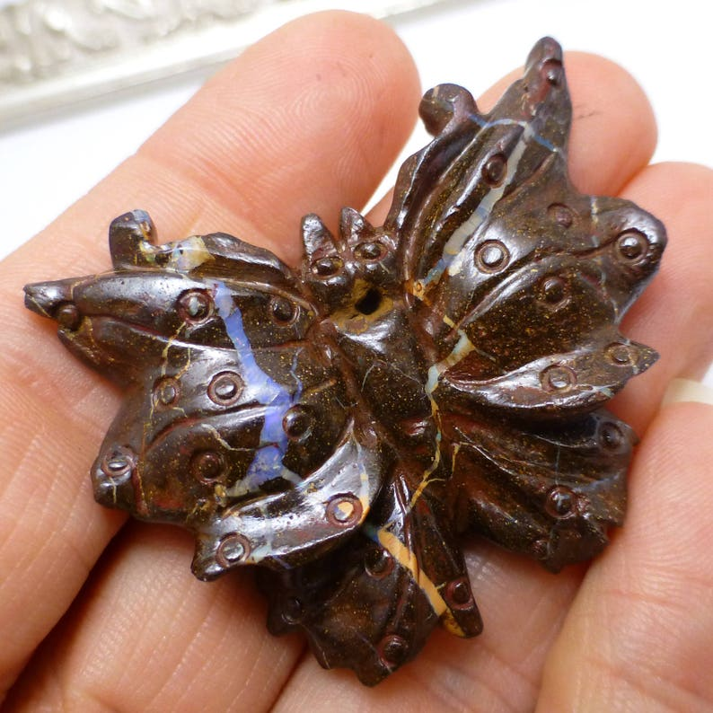 Boulder Opal Butterfly Focal Bead Australian 3D Carved AMAZING Matrix  One of a Kind handmade Unique Migration Christmas Gift