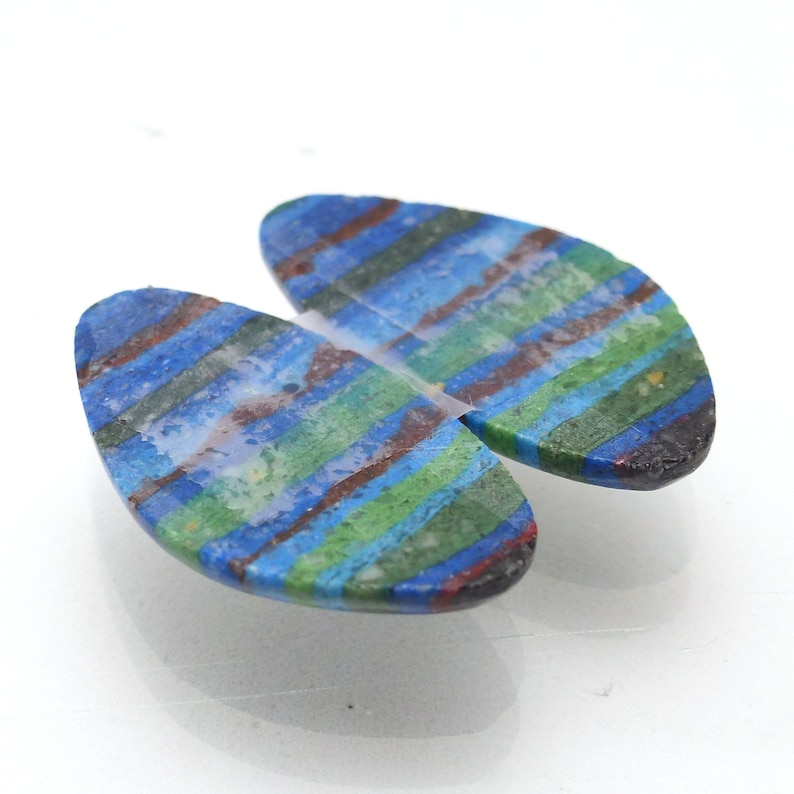 Rainbow Cal Silica Cabochon Pair Two Free Form Beautiful Color Striations Striped False Fordite Designer Handcut Jewelry Red Yellow Red Blue