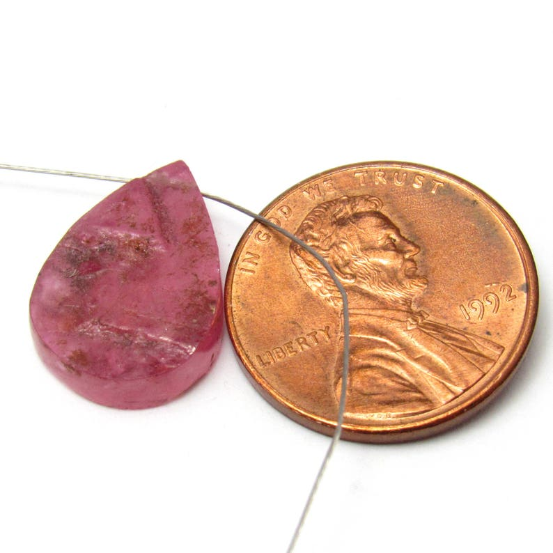 Ruby Crystal Slice Natural Focal Bead Cabochon Magenta Sapphire Corundum September Birthstone Pink Magenta Flat One of a Kind Raw Rough