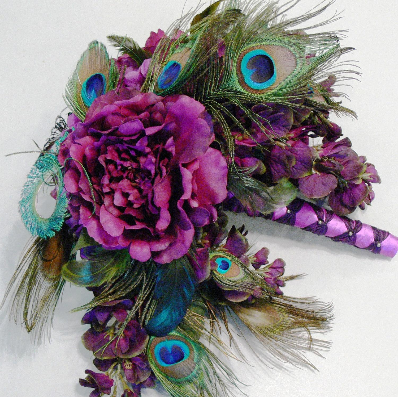 Peacock Wedding Ideas Etsy: Plumluscious Peacock Bridal Wedding Bouquet In Plum Purple