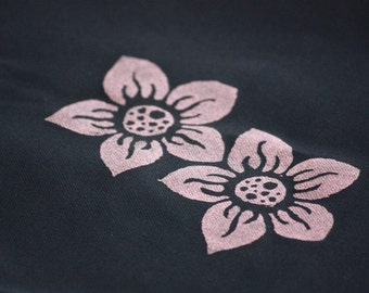 Infinity Cirlce Scarf Silk Screened Flowers in Black and Coral