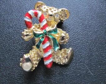 Vintage Teddy Bear Christmas Brooch