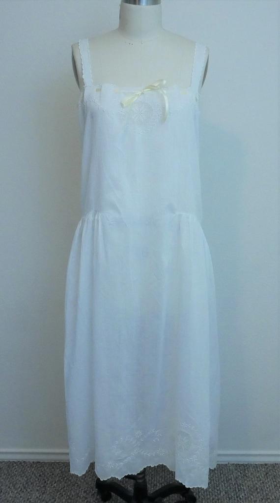 Vintage 1920s white cotton slip