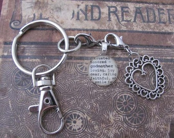Godmother, Aunt, Sister, Sister-in-law Key Chain with Silver-tone Charm by Kristin Victoria Designs