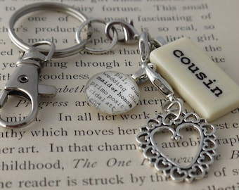 COUSIN Key Chain Personalized Customized Domino Key Chain Gift for Cousin, Maid of Honor, Birthday Cousin Gift by Kristin Victoria Designs
