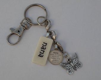 CUSTOM Key Chain with custom glass gem, non-custom Mini Domino,  silver-tone charm Kristin Victoria Designs