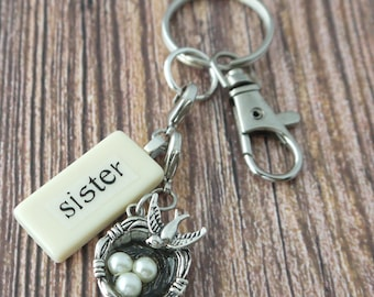 SISTER Key Chain Personalized Customized Domino Key Chain Gift for Maid of Honor, Birthday Sister Gift by Kristin Victoria Designs