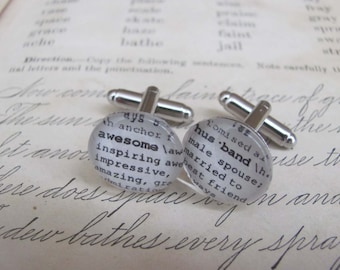 Awesome Husband Cuff Links for Wedding, Anniversary, Christmas Gift by Kristin Victoria Designs
