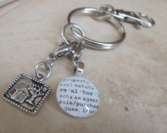 Realtor Key Chain with Silver-tone House Charm for Family, Mother, Aunt, Grandmother by Kristin Victoria Designs