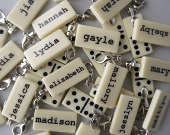 One Custom Mini Domino Name Custom Word Charm Pendant customized personalize You Choose the Word by Kristin Victoria Designs