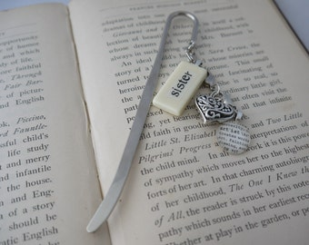 SISTER Bookmark Personalized with Mini Domino silver-tone charm dictionary glass gem charm Kristin Victoria Designs Mom Personalized Gift
