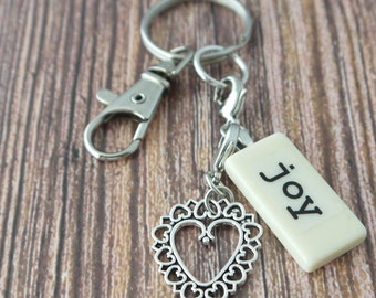JOY Key Chain Personalized Customized Domino for best friend, cousin, daughter, family, friend, mother, niece,  sister, sister-in-law