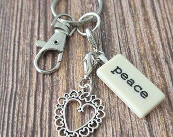 PEACE Key Chain Personalized Customized Domino Gift for god daughter, godmother, granddaughter, grandmother, niece, sister, sister-in-law