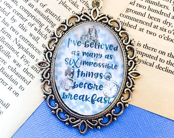 Blue Alice in Wonderland necklace - quote necklace - wonderland necklace - six impossible things quote - bookish quote - book quote necklace