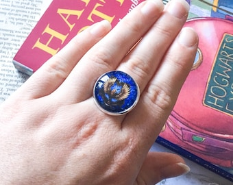 House Crest ring - HP ring - adjustable ring - Potter ring - HP gift - raven ring - potter gift - fandom jewelry - fandom gift - wizard ring