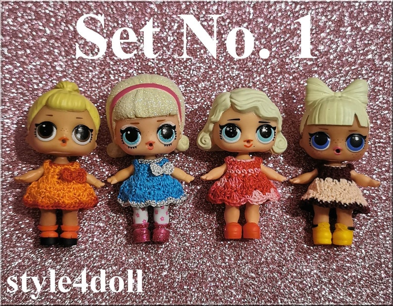 style4doll Set of 4 dresses made crochet for doll LOL