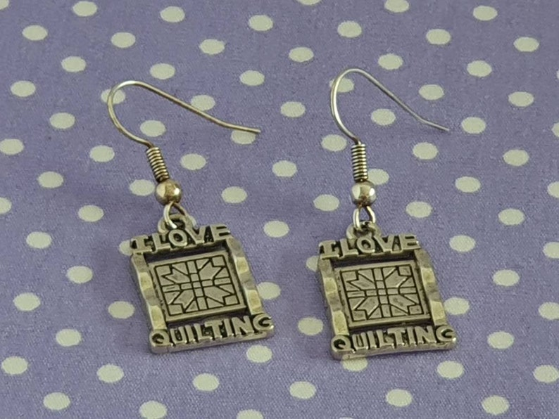 I Love Quilting Earrings Quilting Earrings