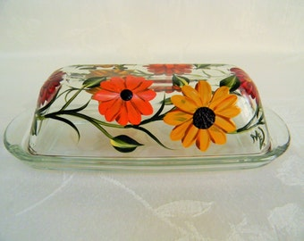 Butter dish, painted butter dish, hand painted Mums