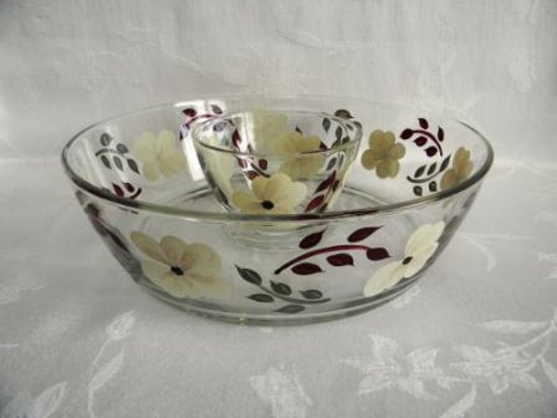 large chip and dip set ivory flowers Chip and dip set,painted serving bowl