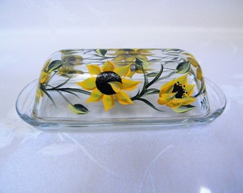 Sunflowers butter dish, glass butter dish with lid, painted sunflowers