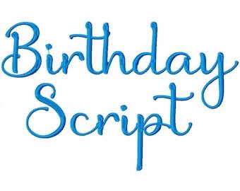 Birthday Script Embroidery Machine Monogram Alphabet Font Set Instant Download Includes BX Files