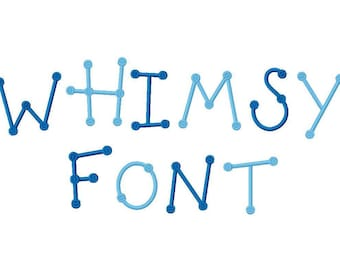 Whimsy Dots Embroidery Machine Monogram Alphabet Font Set Instant Download